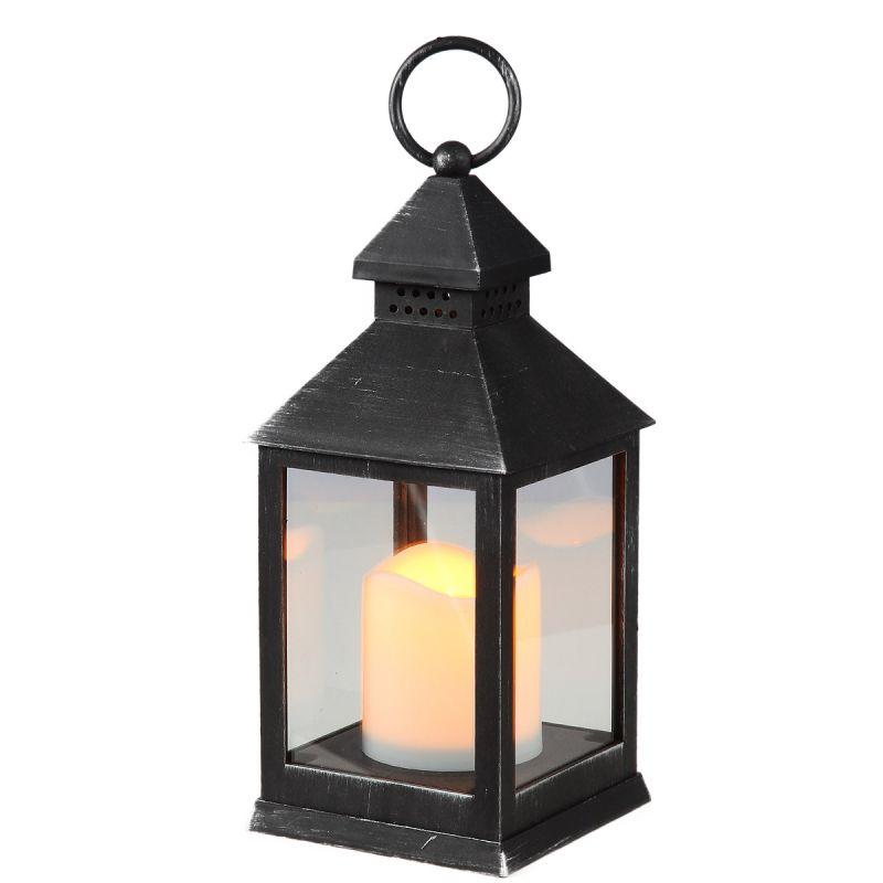 Atq. Black Lantern 24cm incl. LED Candle
