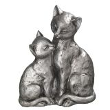 Large Cat Pair - Antq. Silver 22cm