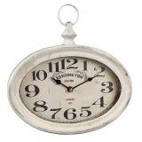 Oval Metal Wall Clock - Antq White 27cm